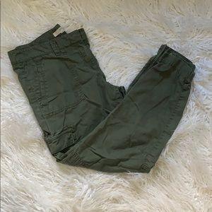 Green Cargo LOFT Pants w Gathered Ankle Zips - 10